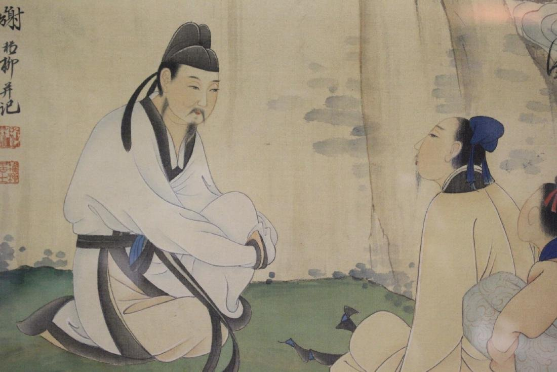 "Framed Chinese watercolor ""scholar scene"" - 6"