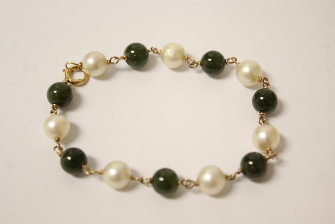 14K jadeite & pearl bracelet and a jadeite bangle - 6