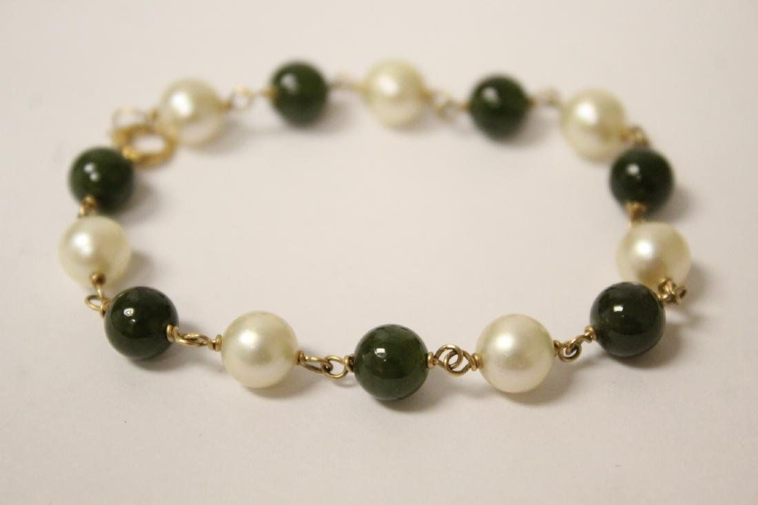 14K jadeite & pearl bracelet and a jadeite bangle - 7