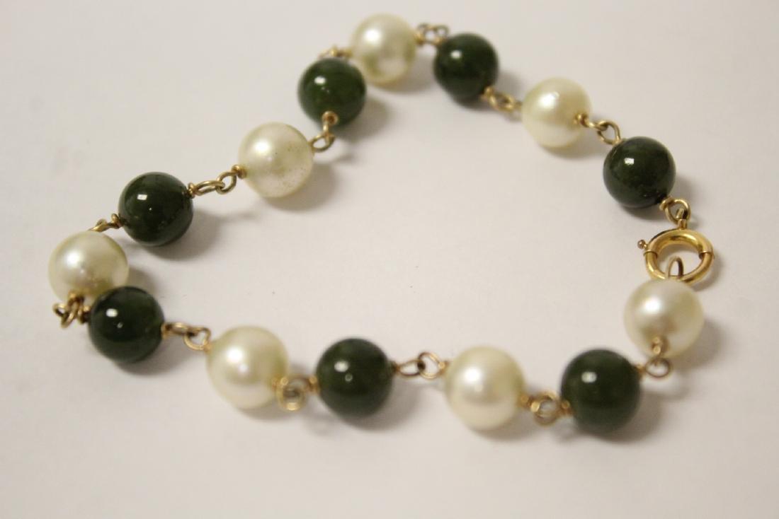 14K jadeite & pearl bracelet and a jadeite bangle - 8