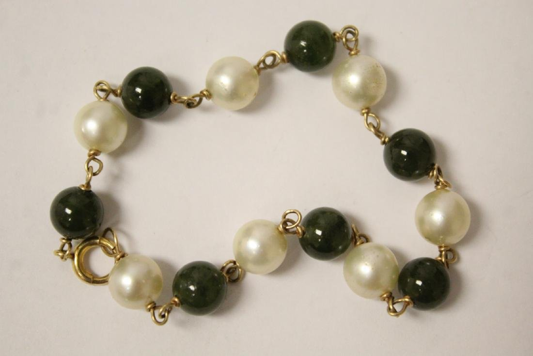 14K jadeite & pearl bracelet and a jadeite bangle - 9