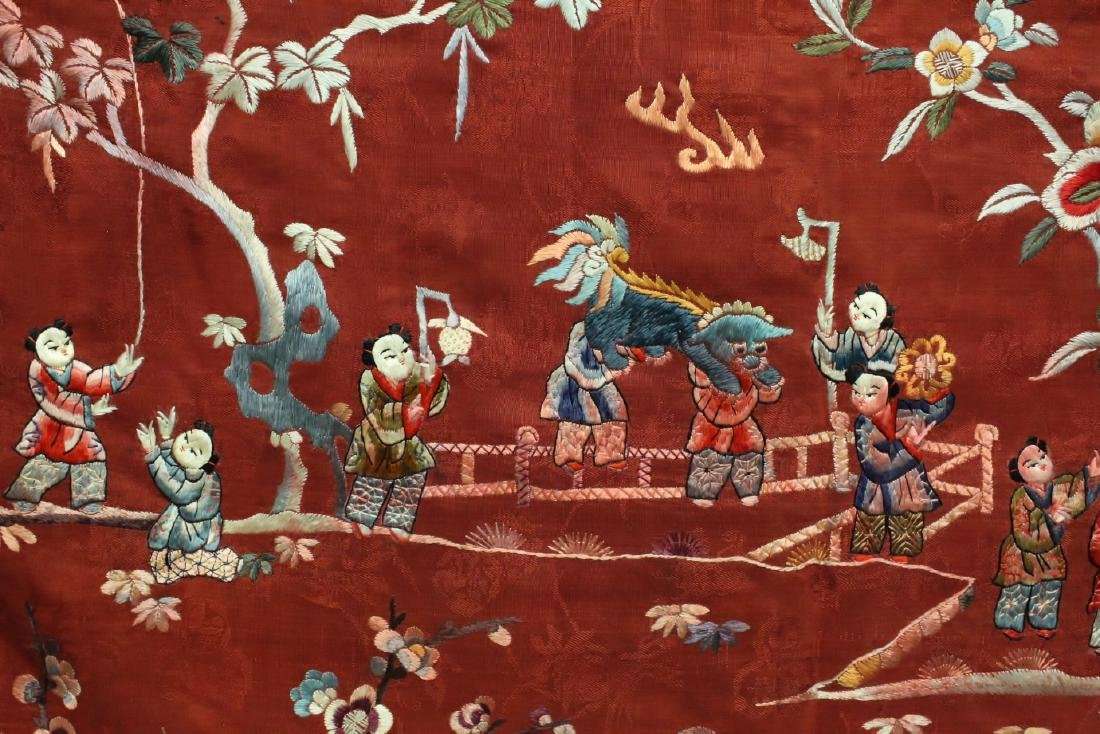 Chinese antique embroidery panel - 5
