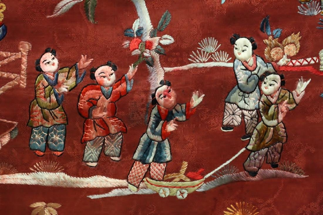 Chinese antique embroidery panel - 6