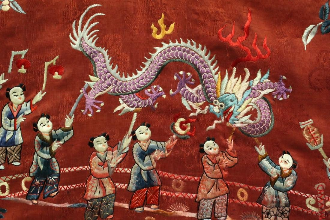 Chinese antique embroidery panel - 7