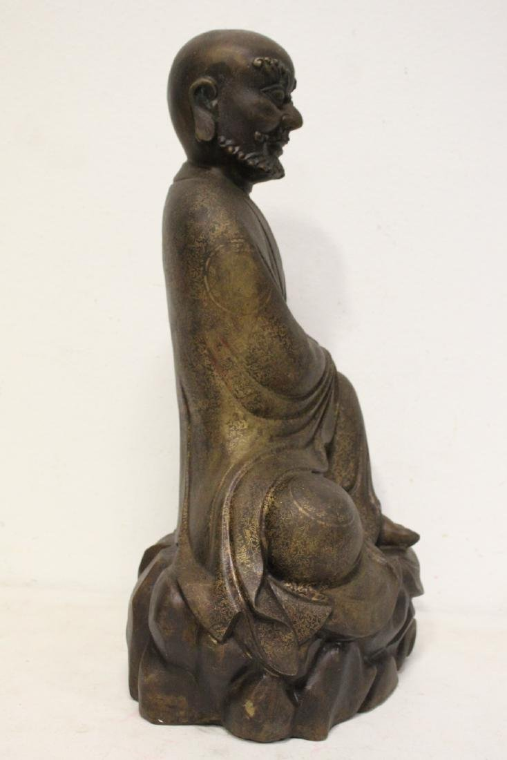 Chinese large bronze sculpture of Lohan - 5