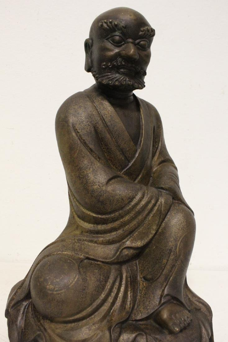 Chinese large bronze sculpture of Lohan - 9