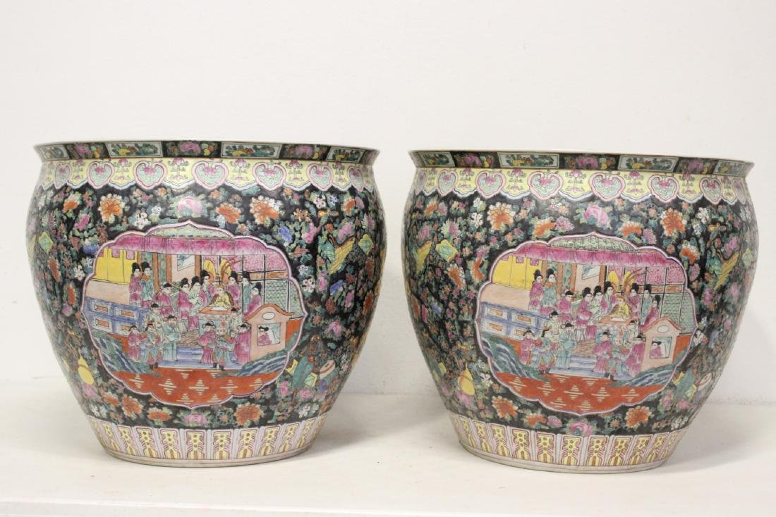 Pair large Chinese famille rose porcelain planters