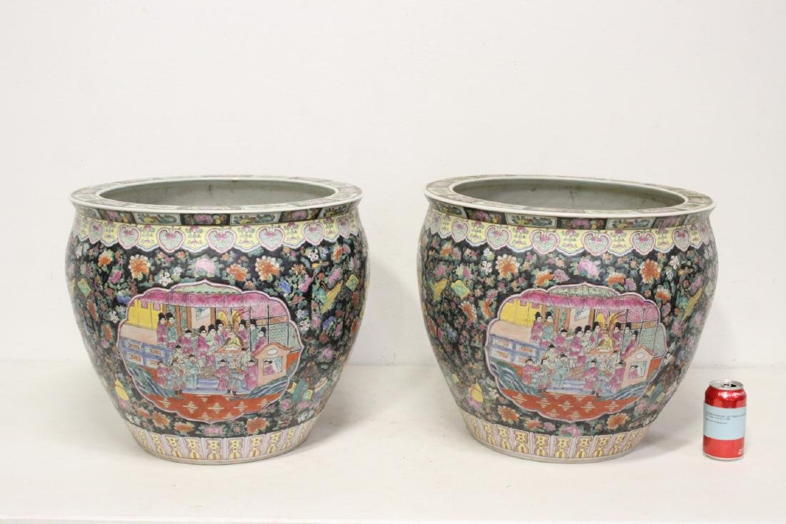 Pair large Chinese famille rose porcelain planters - 2