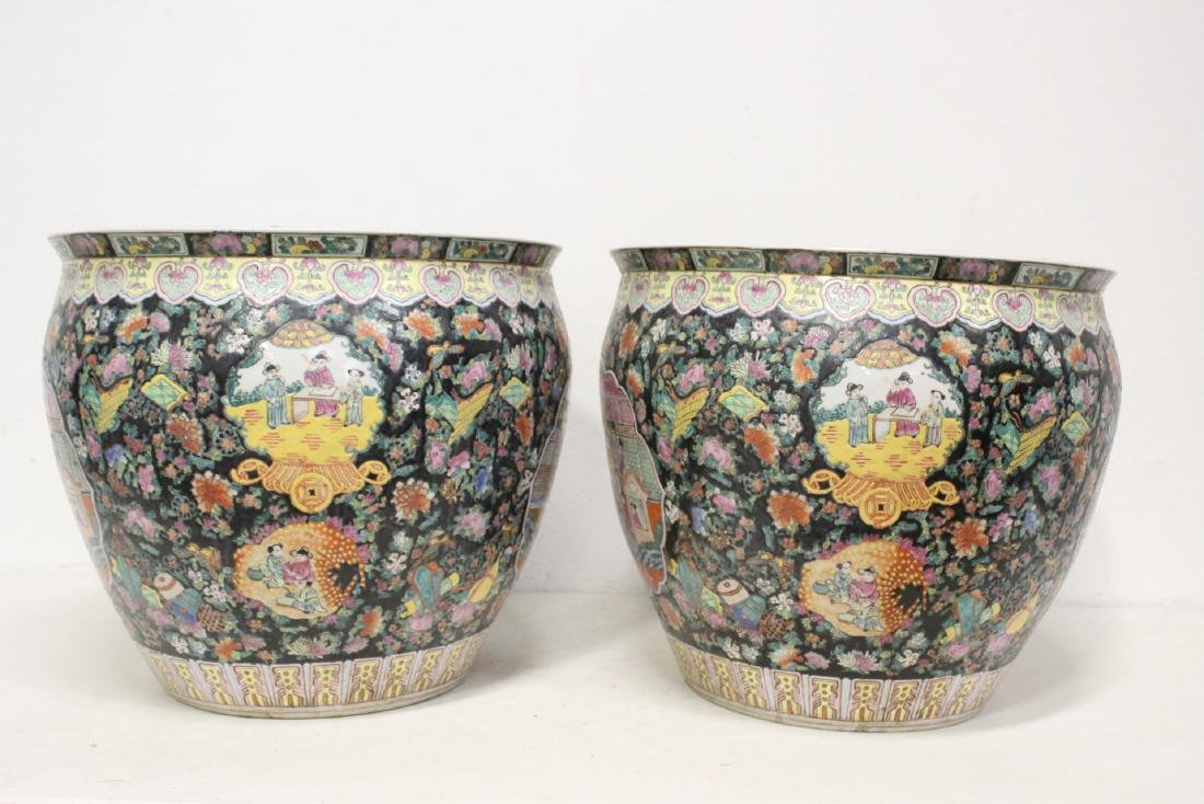 Pair large Chinese famille rose porcelain planters - 3