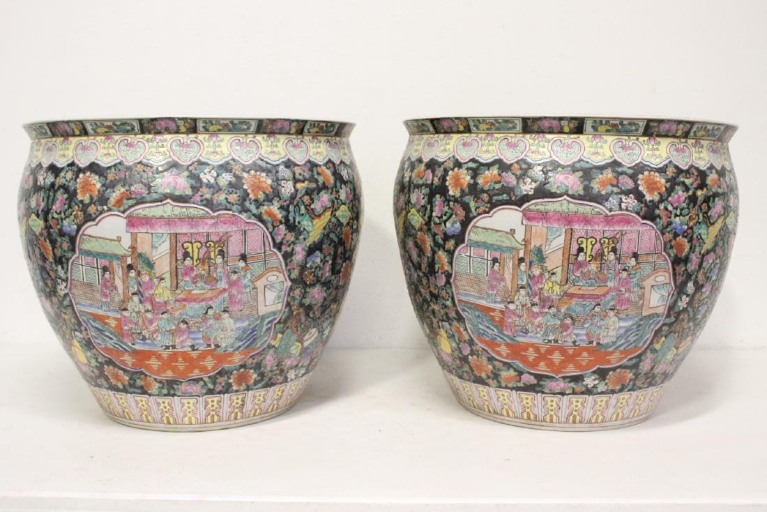 Pair large Chinese famille rose porcelain planters - 4