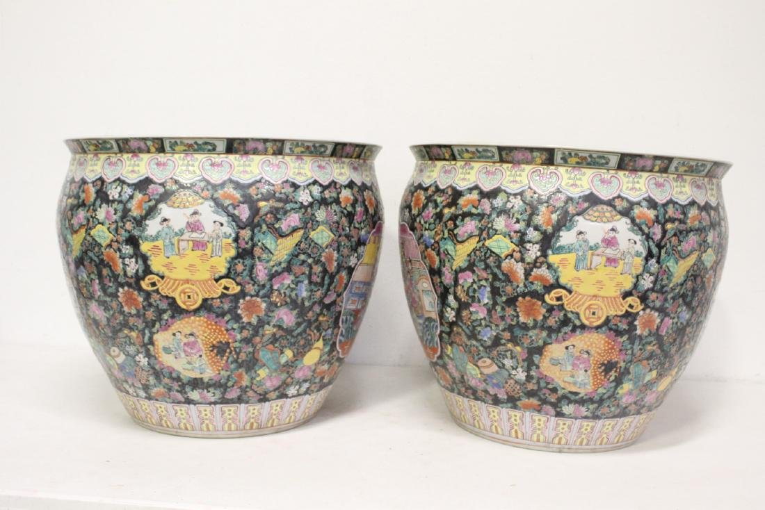 Pair large Chinese famille rose porcelain planters - 5