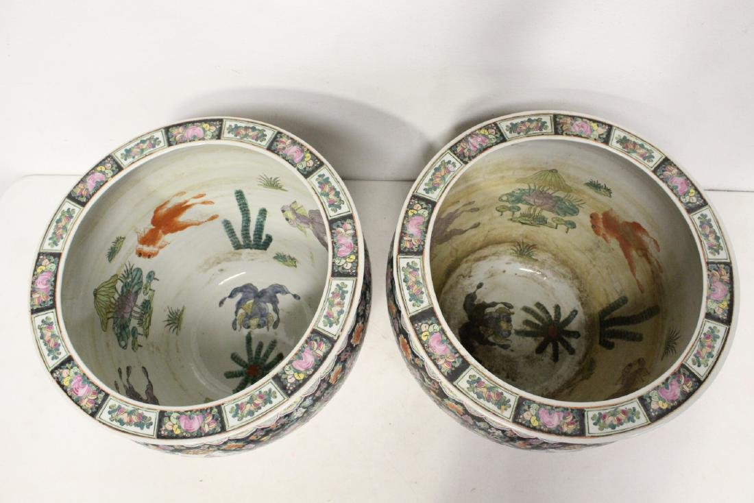 Pair large Chinese famille rose porcelain planters - 6