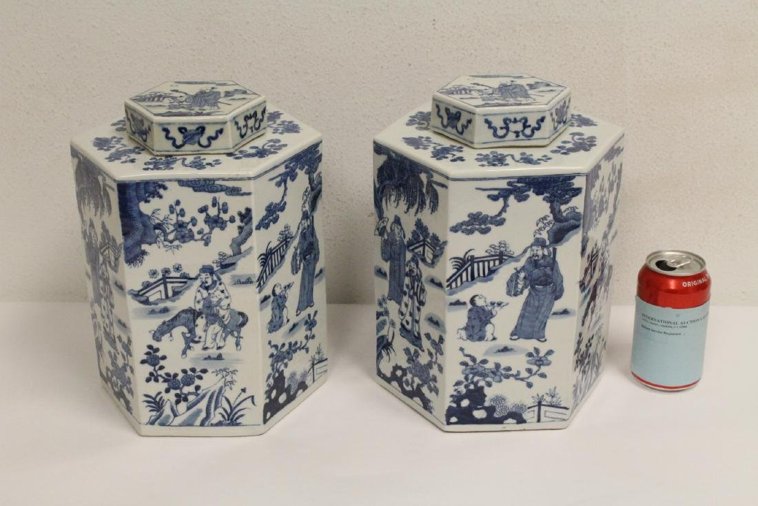 Pair Chinese blue and white porcelain candy jars