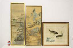 2 Chinese framed watercolors, and a print