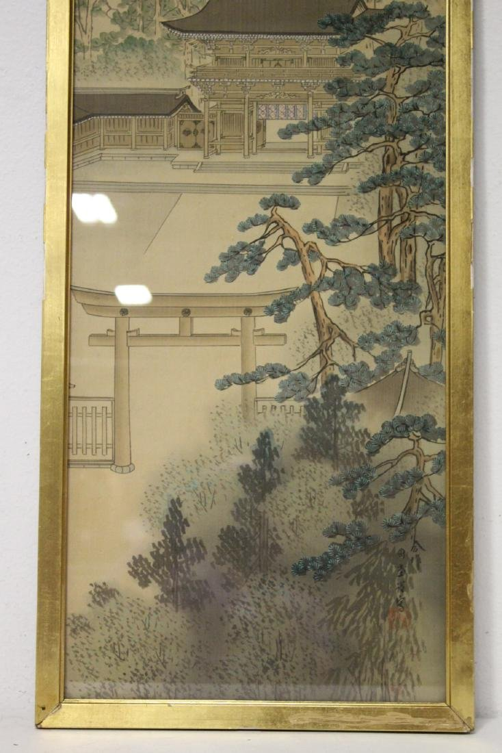 2 Chinese framed watercolors, and a print - 7