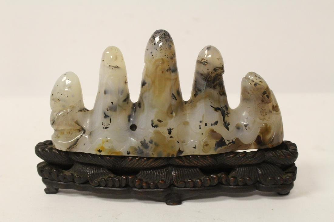 Chinese agate carved brush mountain