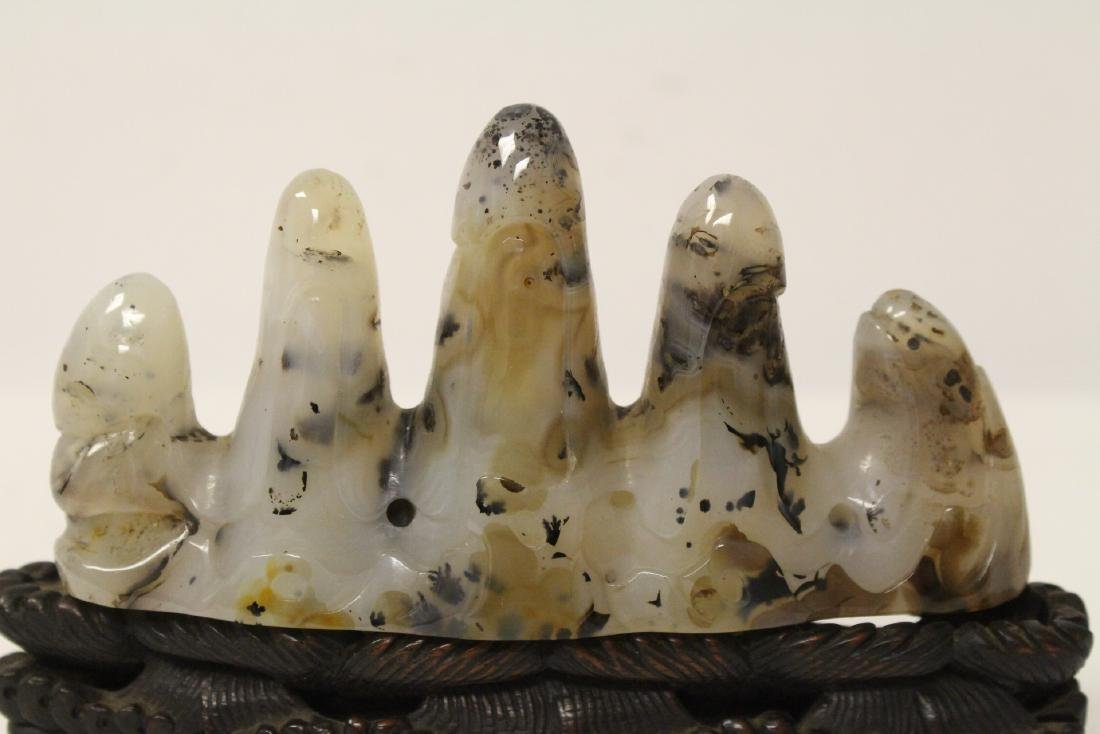 Chinese agate carved brush mountain - 2