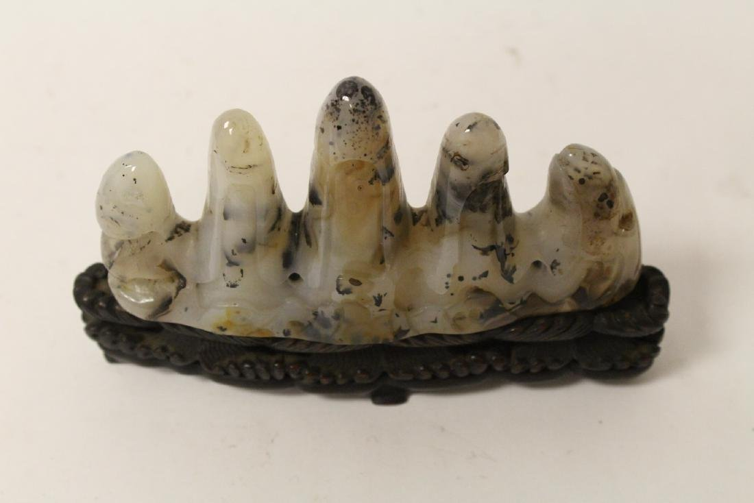 Chinese agate carved brush mountain - 3