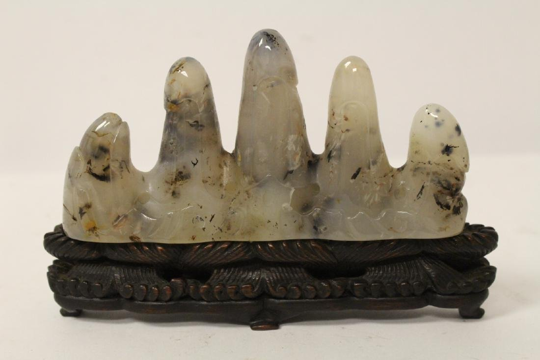Chinese agate carved brush mountain - 7