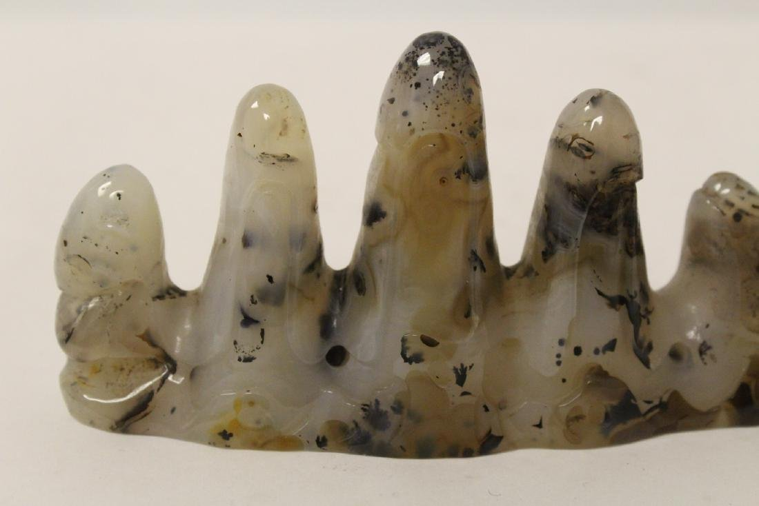 Chinese agate carved brush mountain - 8