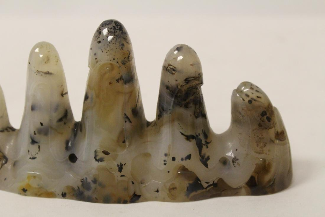 Chinese agate carved brush mountain - 9
