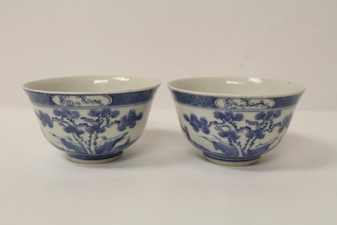 Pair Chinese antique blue and white porcelain bowls