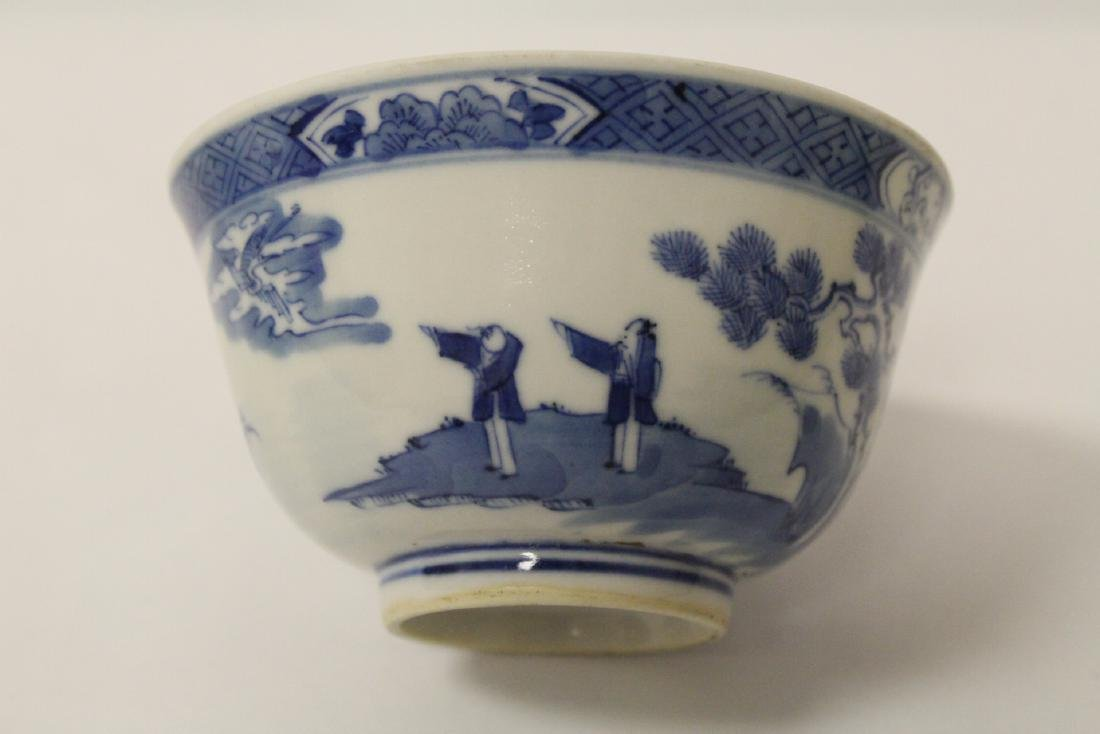 Pair Chinese antique blue and white porcelain bowls - 6