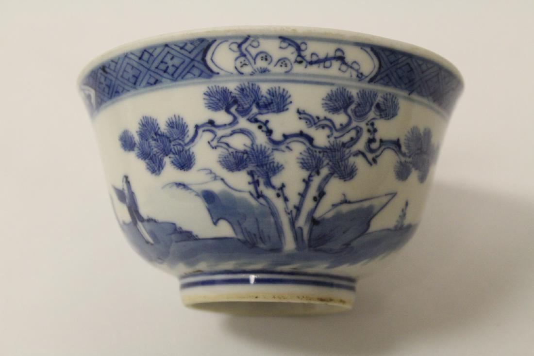 Pair Chinese antique blue and white porcelain bowls - 7