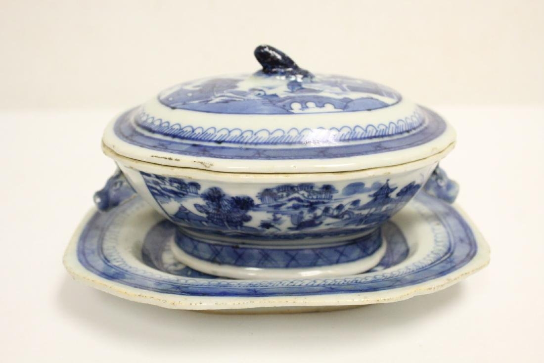 18th c. Chinese export b&w tureen, and a small vase - 6