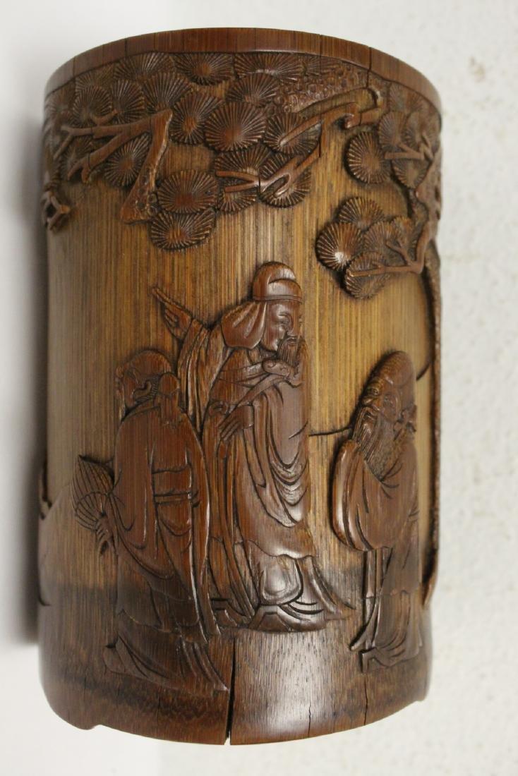 Finely carved bamboo brush holder - 10