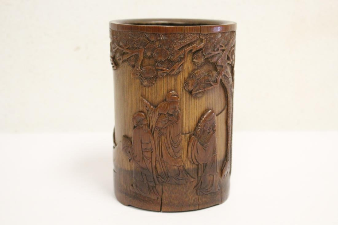 Finely carved bamboo brush holder
