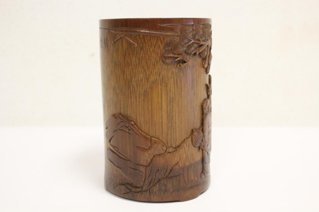 Finely carved bamboo brush holder - 4