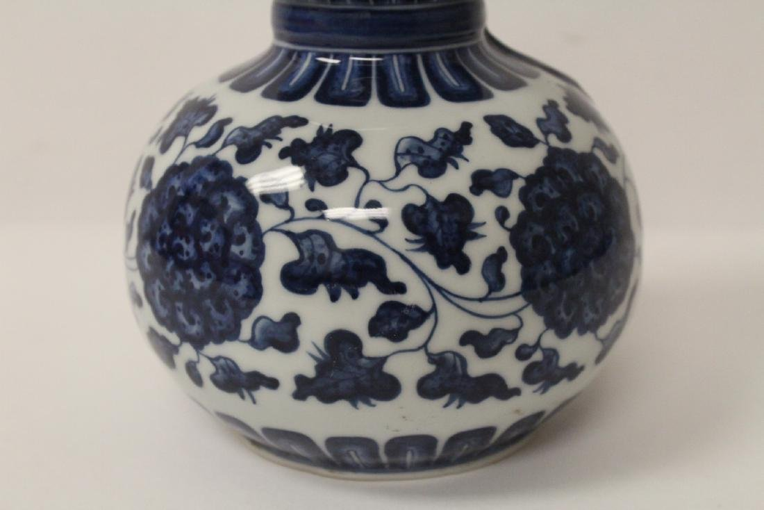Chinese blue and white gourd shape vase - 5