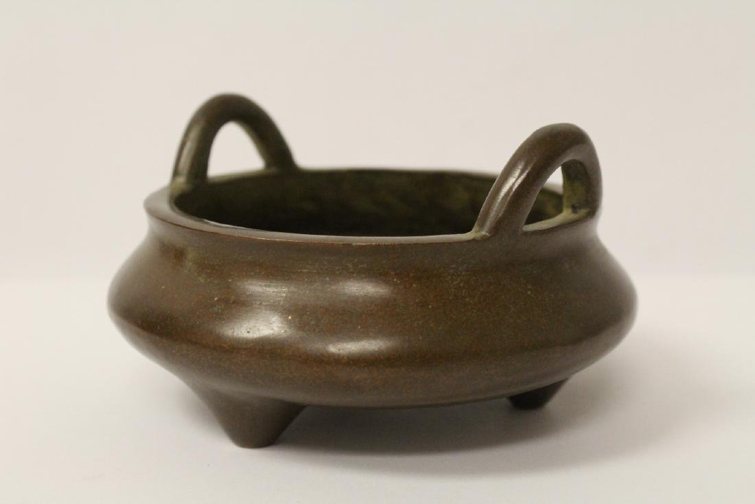 A small bronze open censer - 3