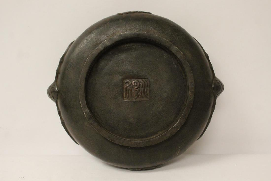 A large Chinese bronze covered censer with stand - 10