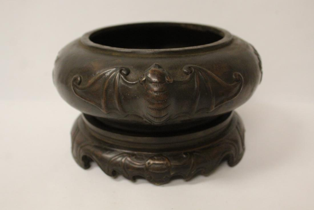 A large Chinese bronze covered censer with stand - 5