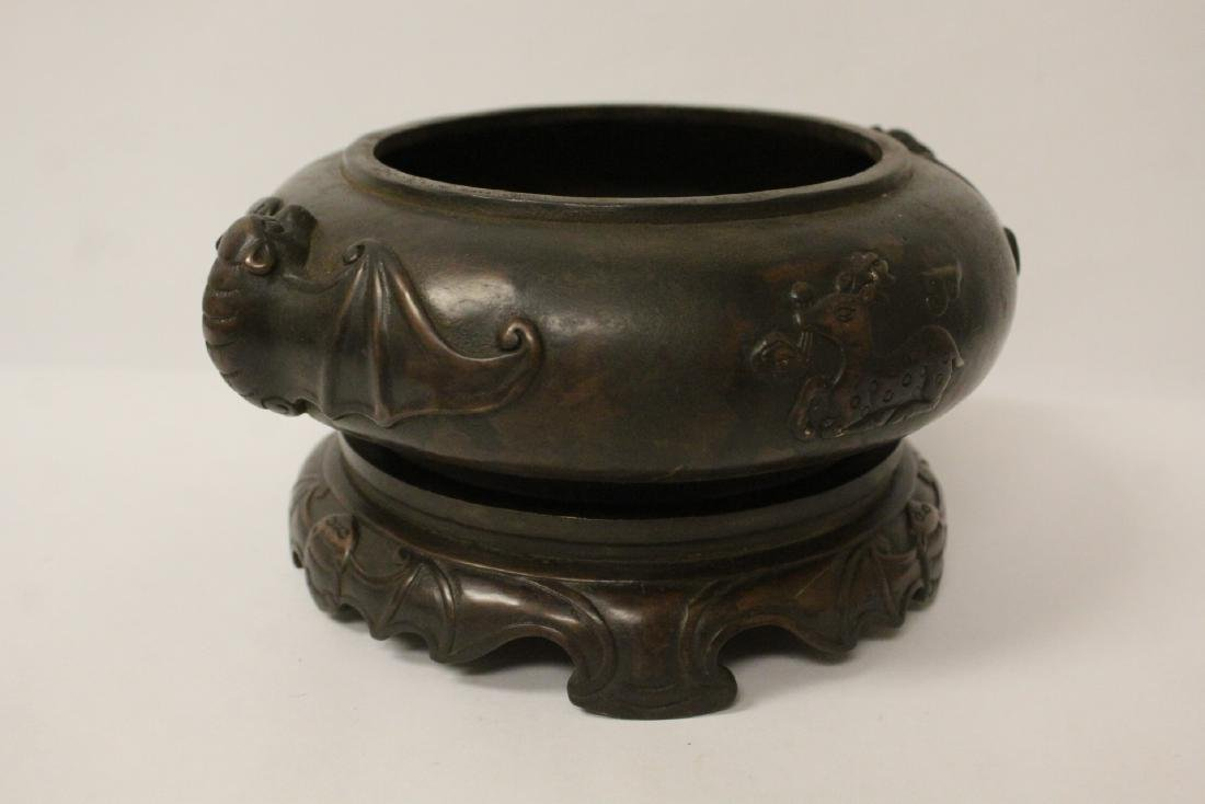A large Chinese bronze covered censer with stand - 6
