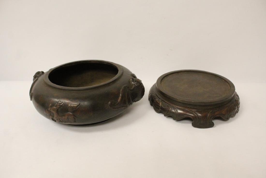 A large Chinese bronze covered censer with stand - 7