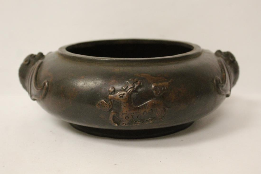 A large Chinese bronze covered censer with stand - 8