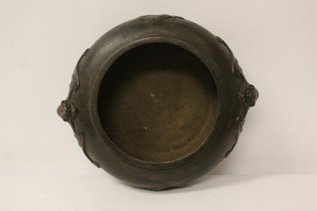 A large Chinese bronze covered censer with stand - 9