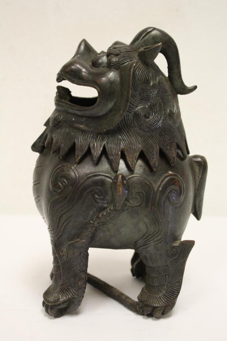 Chinese bronze censer in the form of qilin - 4