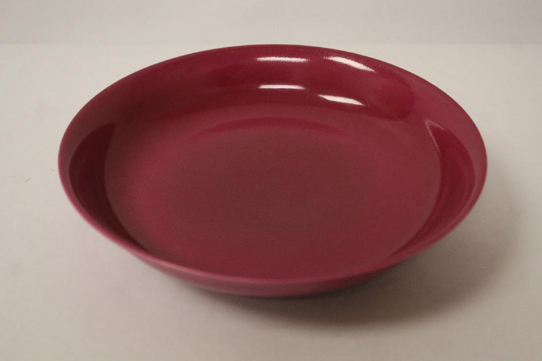 Chinese peach red porcelain plate