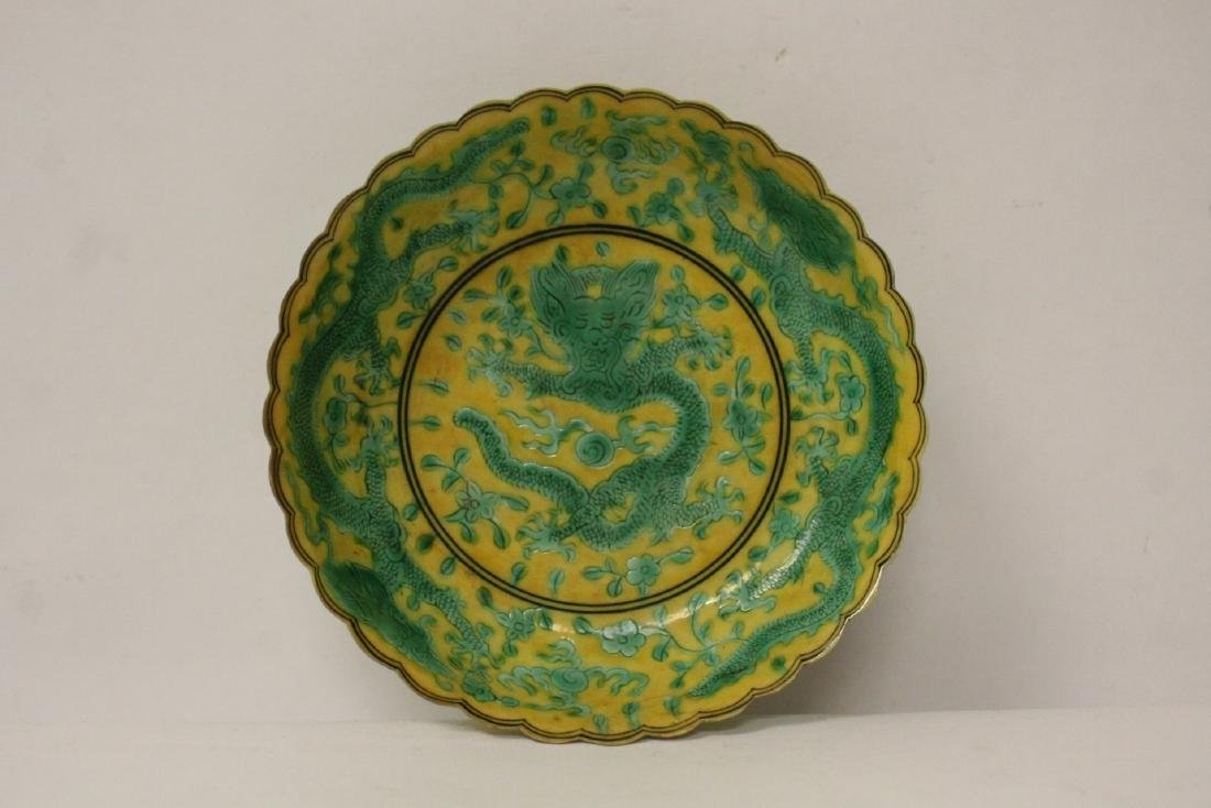 Chinese yellow background famille rose small plate