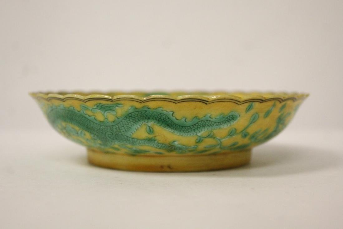 Chinese yellow background famille rose small plate - 4