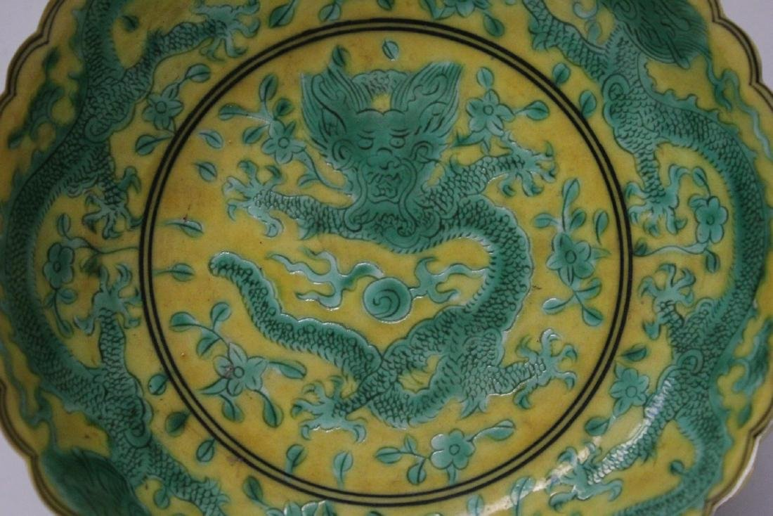 Chinese yellow background famille rose small plate - 6