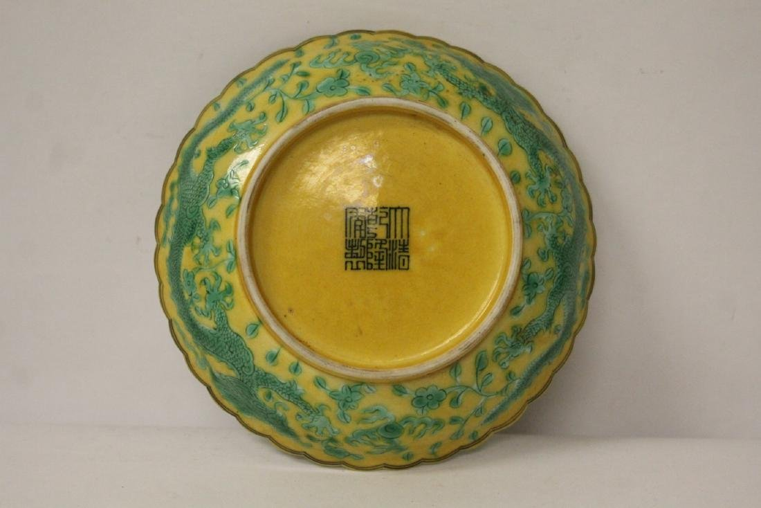Chinese yellow background famille rose small plate - 8