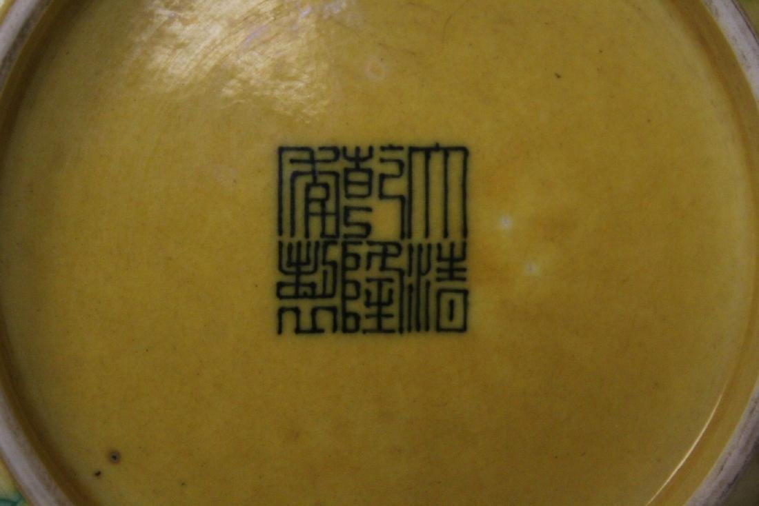 Chinese yellow background famille rose small plate - 9