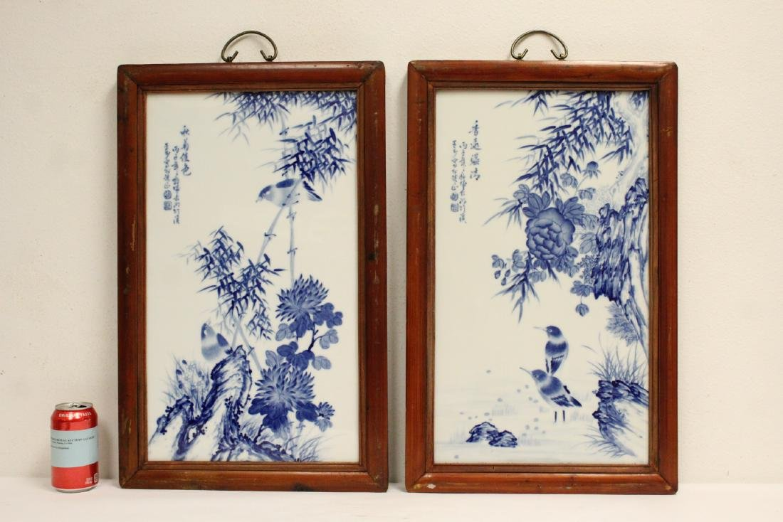 Pair Chinese framed b&w porcelain plaque