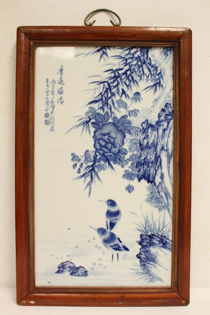Pair Chinese framed b&w porcelain plaque - 2
