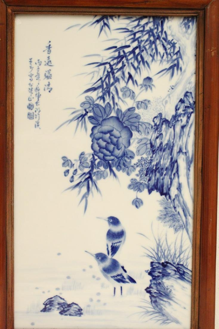 Pair Chinese framed b&w porcelain plaque - 3